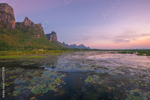 Fotobehang Zwart Twilight time at Sam Roi Yot is a Marine National Park, Prachuap Khiri Khan province, Thailand.