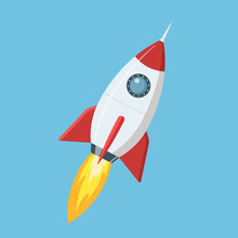 Flying Cartoon Rocket In Flat Style Isolated On Blue Background. Vector Illustration.