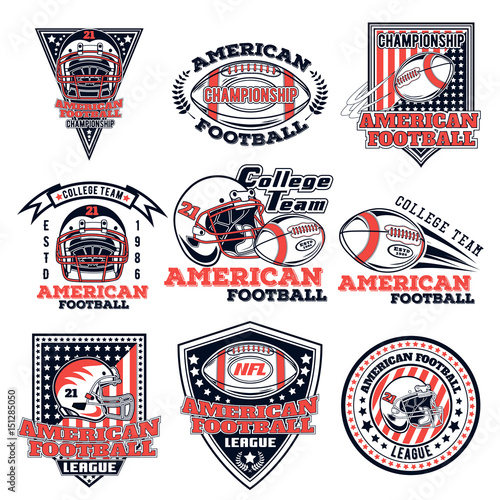 photo about Printable College Logos known as Fastened of vector trademarks upon an American soccer topic for structure