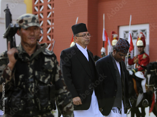 Newly elected Prime Minister Jhala Nath Khanal arrives at