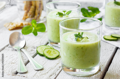 Photo  Cold cucumber soup with avocado and mint