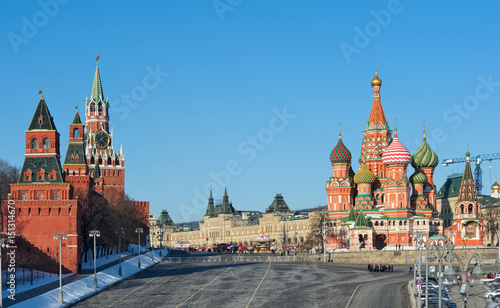 Photo sur Toile Europe de l Est View of St. Basil's Cathedral, Moscow Kremlin and Red Square