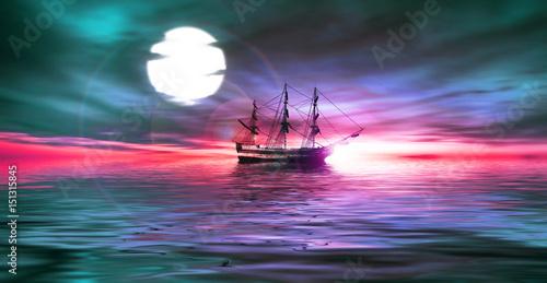 Fotobehang Rood Sailboat during sunrise.
