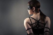 Beautiful Woman In Mask And Bo...