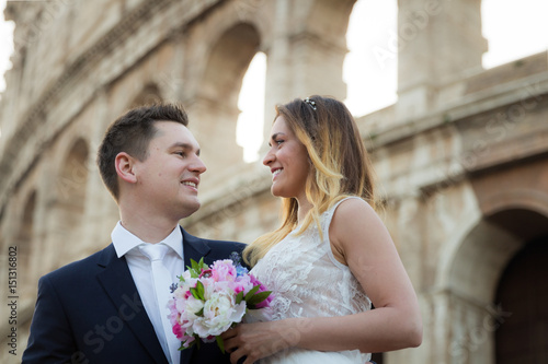 Bride And Groom Wedding Poses In Front Of Colosseum Rome Italy