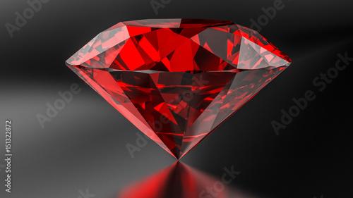 Fotografía  Ruby diamond on the dark background.