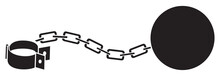 Leg With Iron Chain With Shackle And Ball Vector Illustration