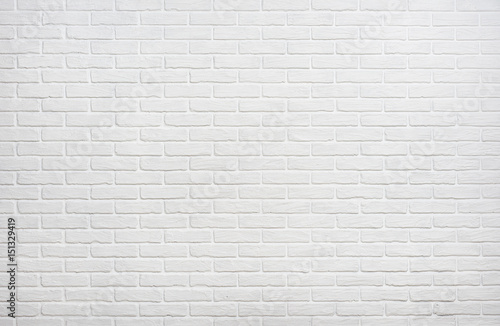 Foto auf Gartenposter Ziegelmauer white brick wall background photo