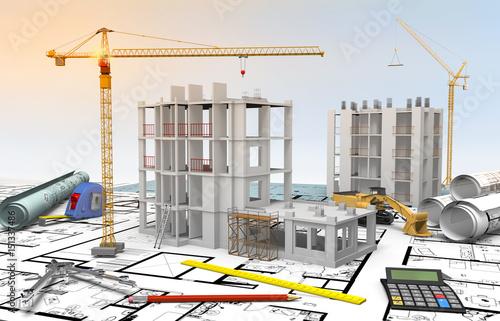 Maquette chantier bâtiment en construction et dessin industriel