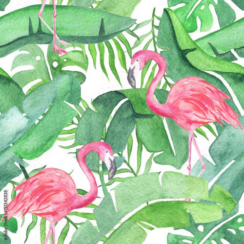 tropikalne-liscie-i-flamingi-powielony-wzor-akwarela