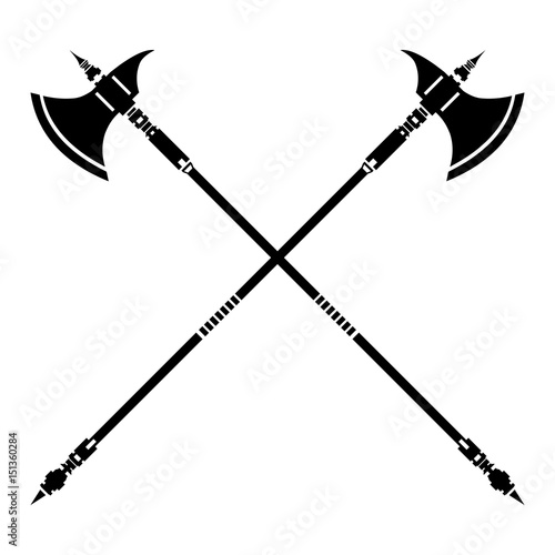 Medieval Crossed Halberds Icon  Vector illustration of an