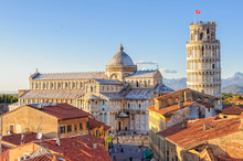 Cathedral (Duomo) And The Leaning Tower Photographed From Above The Roofs, From The Grand Hotel Duomo - Pisa, Tuscany, Italy
