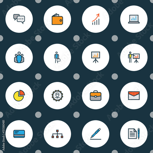 Job Colorful Outline Icons Set Canvas-taulu