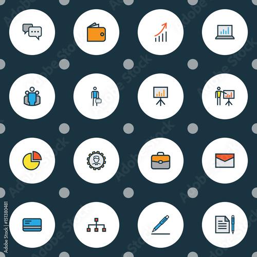 Obraz na plátne  Job Colorful Outline Icons Set
