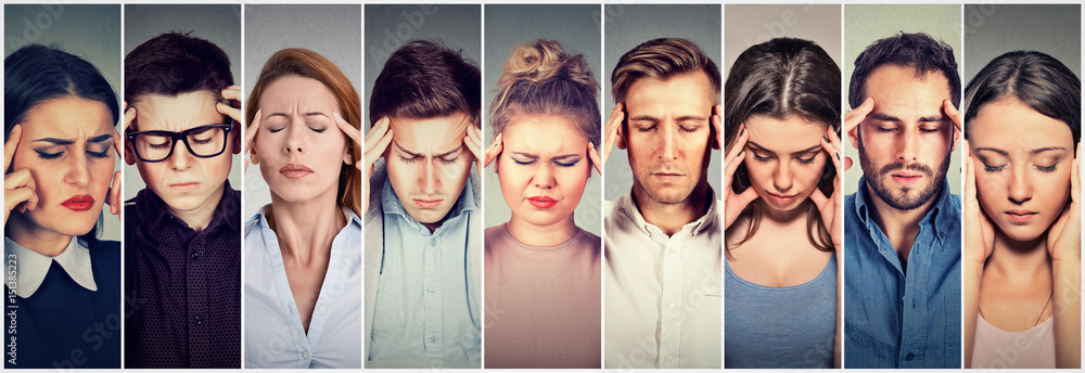 Fototapeta Group of stressed people having headache