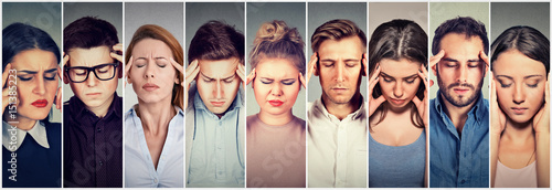Fotografie, Obraz  Group of stressed people having headache