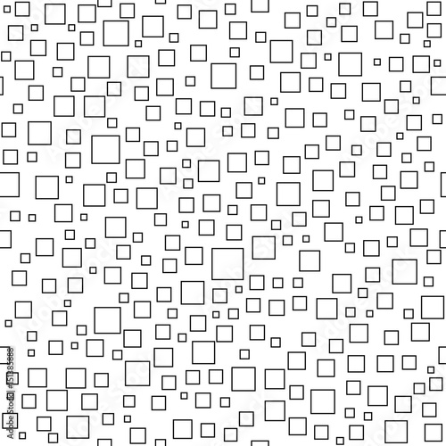 Zdjęcie XXL Bezszwowe tło dla swoich projektów. Nowoczesny ornament wektor z losowymi czarnymi kwadratami. Geometryczny abstrakcyjny wzór