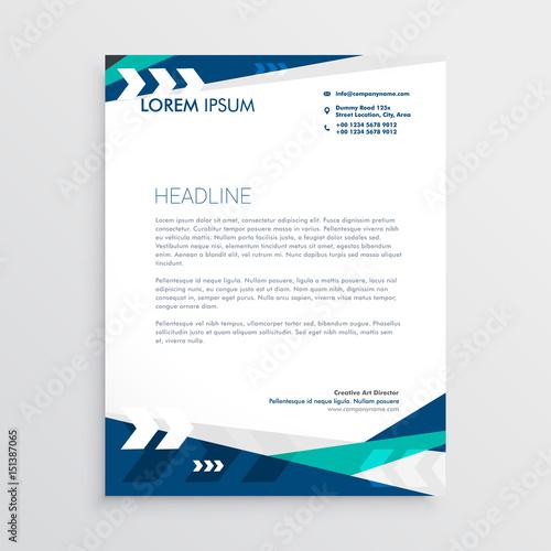 Fototapeta letterhead design with blue geometric shapes and arrow obraz