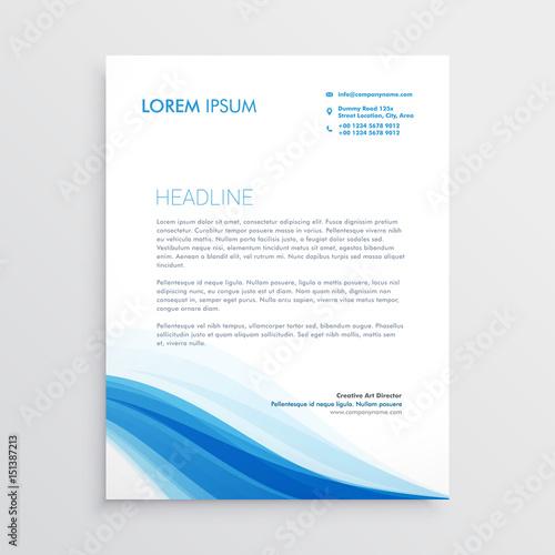 Fototapeta creative blue wavy shape letterhead design obraz