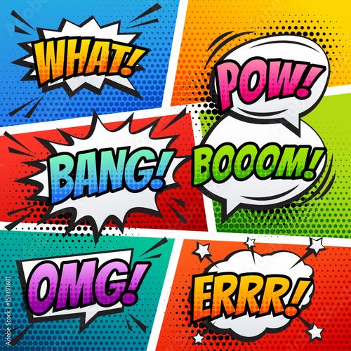 Fotobehang Pop Art comic sound effect speech bubble pop art in vector cartoon style