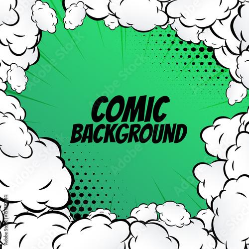 Zdjęcie XXL komiks tło z pop-artu ramki chmury