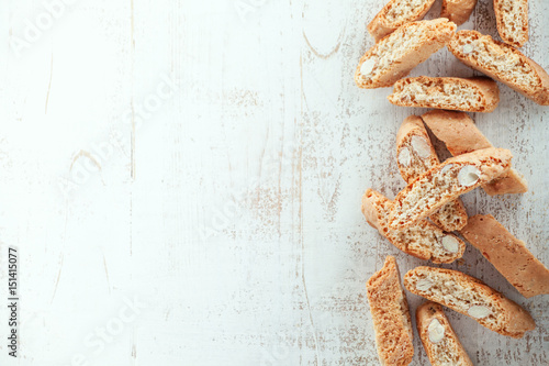 Cantucci on wooden background Fototapeta
