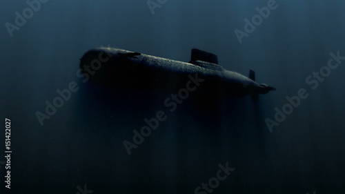 Valokuvatapetti submarine underwater with bobm explosion 3d illustration