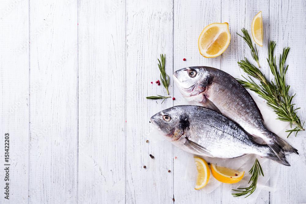 Fototapeta Fresh raw fish dorado