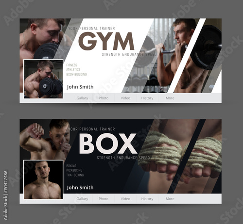 Universal Advertising template  banner for social networks with diagonal elements for the image of the gym, sports Wall mural