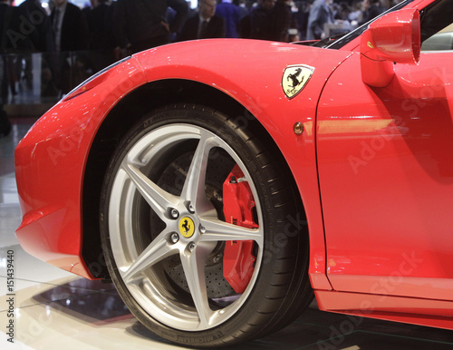 The Ferrari Italia Is Displayed At The Exhibition Stand Of - Car show wheel stands