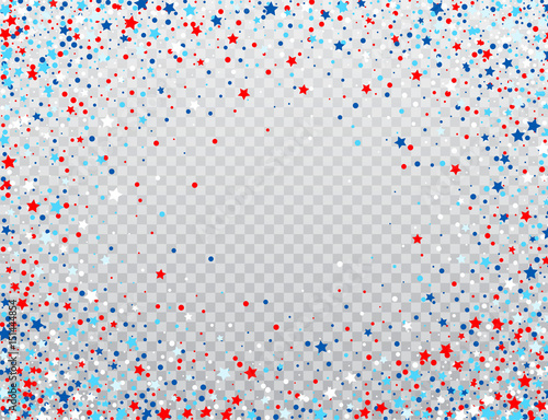 Obraz USA celebration confetti stars in national colors for American independence day isolated on background. Vector illustration - fototapety do salonu