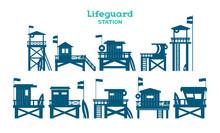 Set Of Lifeguard Tower.