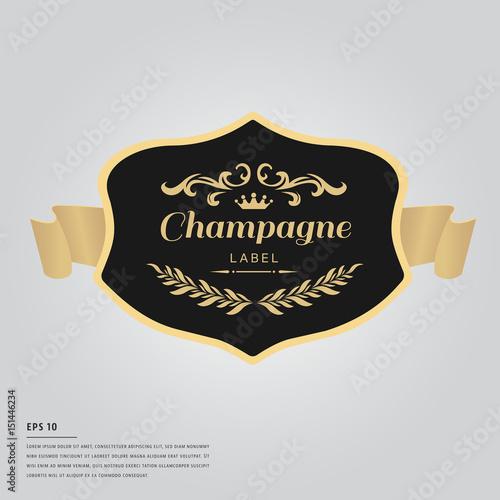 Fotografiet Lorem ipsum text with champagne bottle label