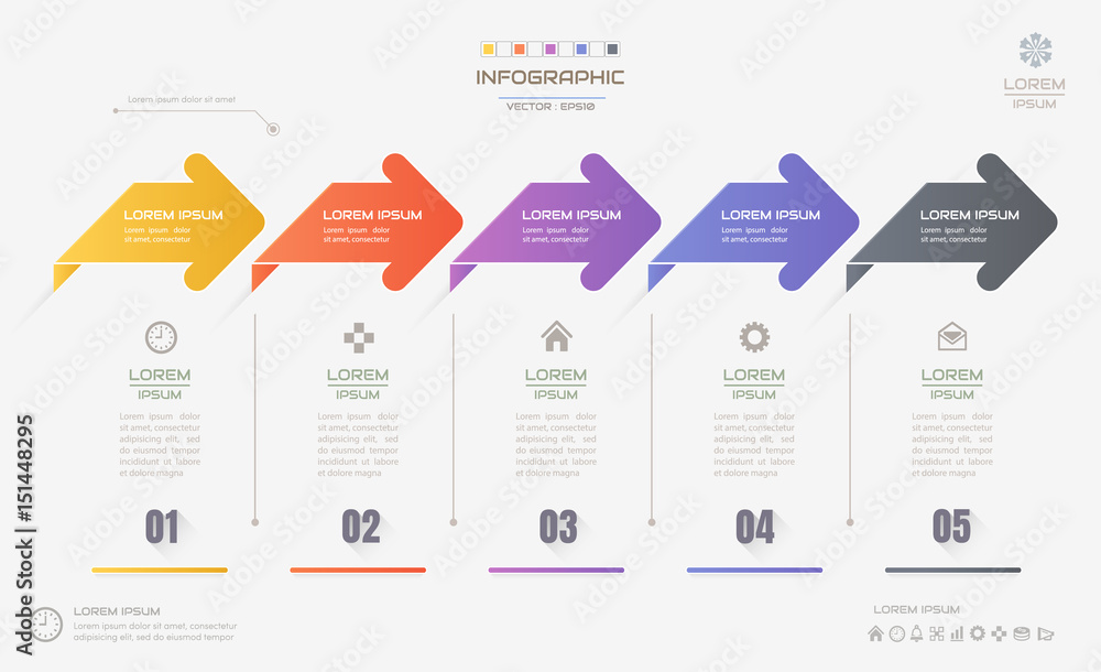 Fototapety, obrazy: Infographics design template with icons, process diagram, vector eps10 illustration