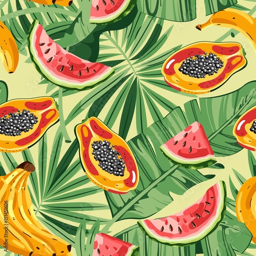 Cotton fabric Seamless pattern with tropical fruits and leaves. Vector illustration.