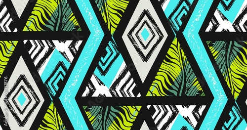 Cotton fabric Hand drawn vector abstract freehand textured seamless tropical pattern collage with zebra motif,organic textures,triangles isolated on black background.Wedding,save the date,birthday,fashion