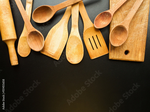 Kitchen utensil background Canvas Print