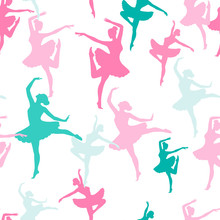 Seamless Vector Pattern From Silhouettes Of Dancing Ballerinas