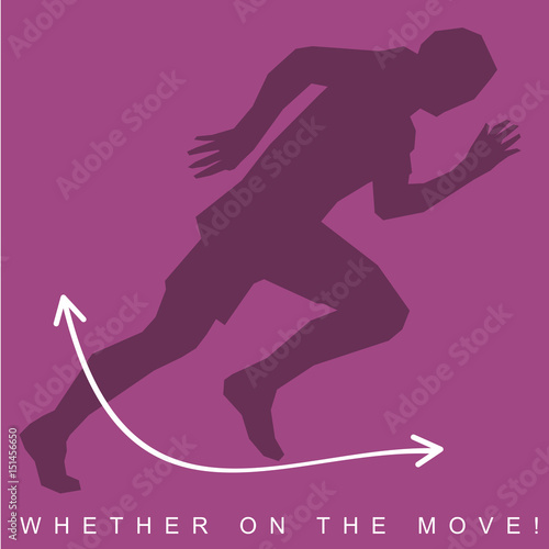 vector illustration of silhouette of an athlete and sneakers sports