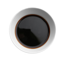Bowl With Tasty Soy Sauce On W...