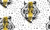 Ręcznie rysowane wektor streszczenie kreatywnych wzór z ilustracji twarz tygrysa, złota folia i kropki tekstury na białym tle. Projekt dla mody tkaniny, dekoracji, pakowania, biznes - 151470266