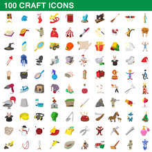 100 Craft Icons Set, Cartoon S...