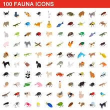 100 Fauna Icons Set, Isometric...