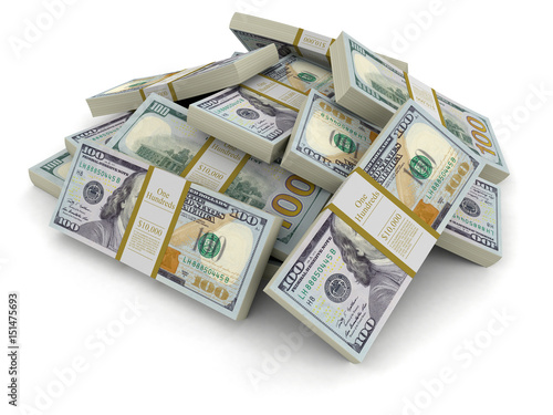 Fotografia Pile of Dollars. Image with clipping path