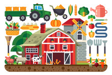Stock Vector Illustration Set Of Icons For Farm Business, House, Tractor, Tools, Artiodactyls, Cloven-hoofed Domestic Animals, Crib, Barn, Chicken, Pig, Cow, Sheep, Mill Flat Style