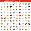 100 veterinary icons set, isometric 3d style