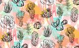 Ręka rysujący wektorowy abstrakcjonistyczny graficzny kreatywnie sukulentu, kaktusa i rośliien bezszwowy wzór na kolorowym artystycznym muśnięciu, malował tło. Unikalnego niezwykłego modnisia modny projekt Ręka zrobił grafice - 151485671