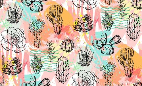 recznie-rysowane-wektor-streszczenie-graficzny-kreatywnych-sukulentow-kaktusow-i-roslin-wzor-na-kolorowe-pedzle-artystyczne-malowane