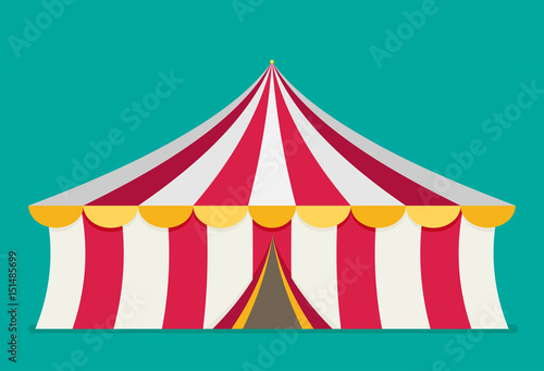 Circus tent vector, flat design Fotobehang