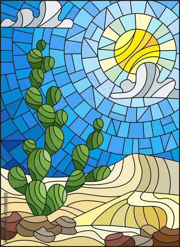 ilustracja-w-witraz-stylu-malowania-z-krajobraz-pustyni-kaktus-w-lbackground-w